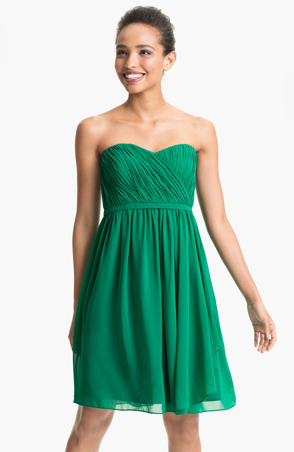 Donna Morgan Pleated Sweetheart Neckline Chiffon Dress, from shop ...