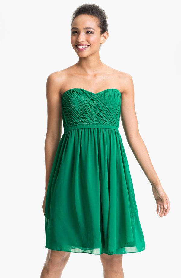 Donna morgan pleated sweetheart neckline chiffon dress for Donna morgan wedding dresses