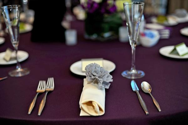 Eggplant And Grey Wedding Reception The Merry Bride