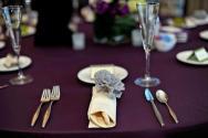 Wedding reception in eggplant and grey