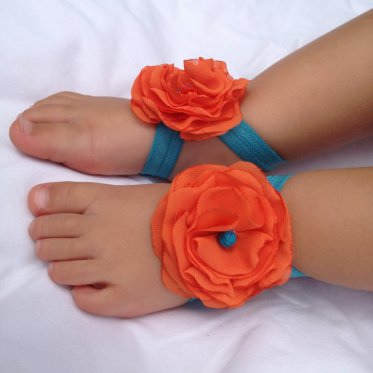 Flowergirl barefoot sandals (for a beach wedding), by Lizzapooh on etsy.com