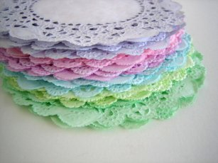 Hand-dyed doilies - great table decorations - brightsoslight on etsy.com