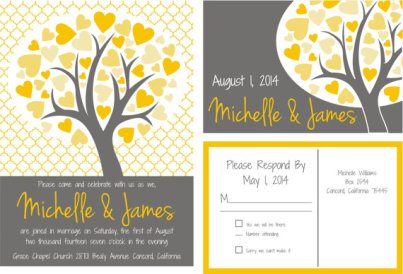 Heart tree invitation, by ByDesignWeddings on etsy.com