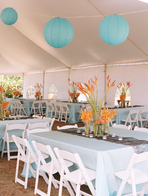 Turquoise and orange reception