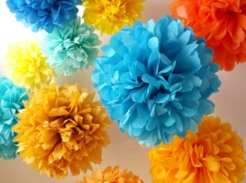 Paper pompoms, by pomtree on etsy.com