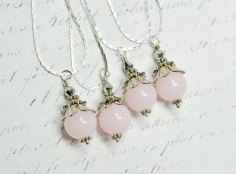 Pastel pink bridesmaid necklaces, by WaterwaifWeddings on etsy.com