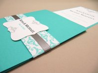 Tiffany-blue pocketfold invitation, by JutingDesignStudio on etsy.com