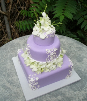Square Wedding Cakes With Artificial Flowers