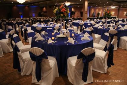 Wedding reception in royal blue colour scheme