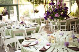 Wedding reception in lilac and green
