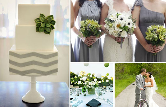 A Green Grey And White Wedding