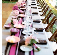 Wedding reception in chocolate brown and pink