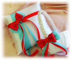 Flower girl basket and ringbearer pillow set, by All4Brides on etsy.com