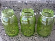 Green mason jars (for hanging or for centrepieces) by Embellish1122 on etsy.com