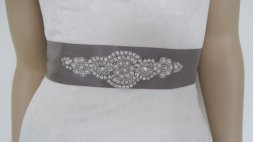Grey bridal sash, by Diamondweddingveil on etsy.com