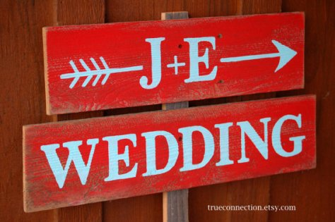 Personalised wooden wedding sign, by TRUECONNECTION on etsy.com