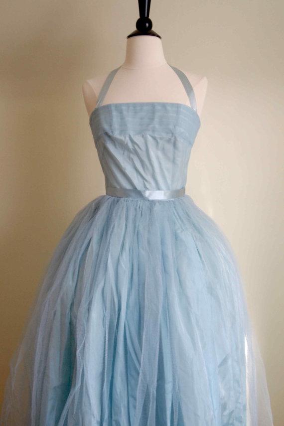 1950s Light Blue Wedding Dress By Luxvintageapparel On Etsy Com