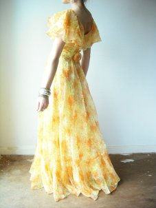 1960s citrus gown, by viralthreads on etsy.com