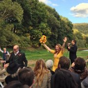 Amber Tamblyn got married in a bright marigold dress