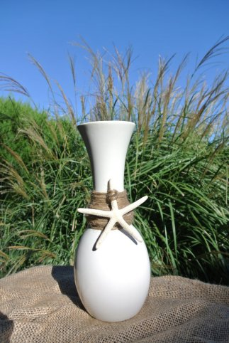 Beach wedding centrepiece vases, by JCBees on etsy.com