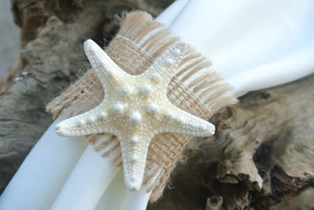 Beach wedding napkin rings, by JCBees on etsy.com