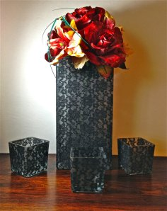 Black lace vases, by UproarDecor on etsy.com