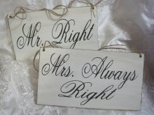 Bride and groom chair signs - good for a giggle! By dlightfuldesigns on etsy.com
