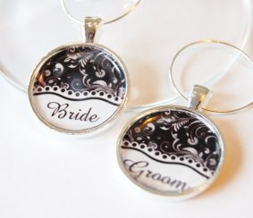 Bride and groom wine charms, by KellysMagnets on etsy.com