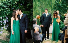 Bride in an emerald dress