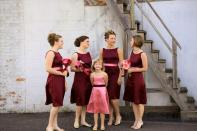 Bridesmaids in burgundy and pink