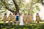 Bridesmaids in mustard and teal