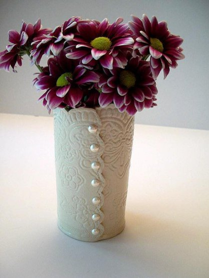 Brocade wedding vase with pearl buttons, by CatsPawPottery on etsy.com