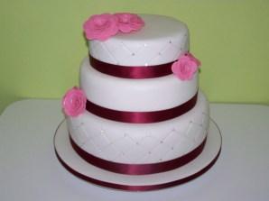 Burgundy and pink cake