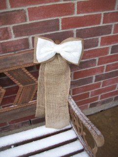Burlap and lace bows, by OneFunDay on etsy.com