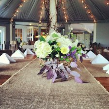 Burlap table runners, by theruffleddaisy on etsy.com (great for rustic-themed weddings)