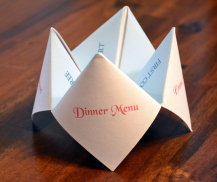 Cootie catcher menus, by DesignsByTenisha on etsy.com