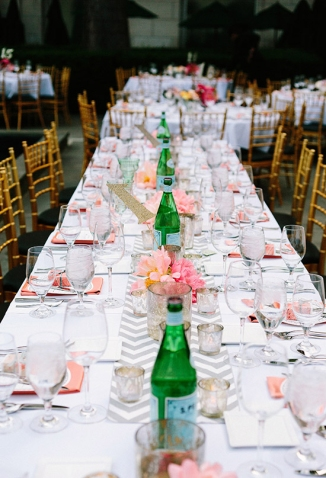 Coral and grey reception