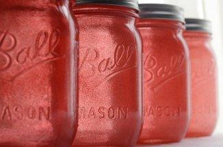 Coral mason jars, by willowfairedecor on etsy.com