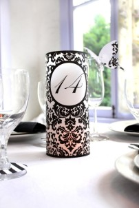 Damask table luminaries, by ThePoshEvent on etsy.com