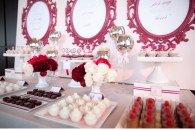 Dessert table in burgundy and pink