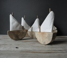 Driftwood sailboat napkin holders, by OceanSwept on etsy.com