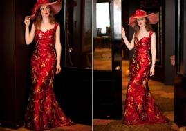Embroidered dupion silk dress, by New Zealand designer Sophie Voon