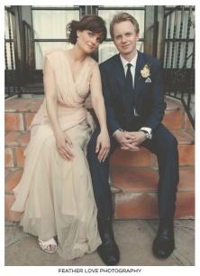 Emily Deschanel got married in a nude-coloured wedding dress