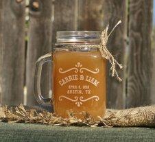 Etched mason jar glasses, by ScissorMill on etsy.com