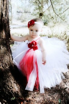 Flower girl tutu and headband, by KutieTuties on etsy.com