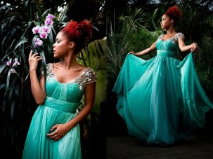 Green chiffon wedding dress, by Darmianifashion on etsy.com