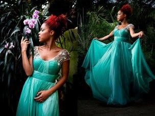 Green chiffon wedding dress, by Darmianifashion on etsy.com