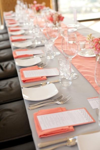 Grey and coral wedding reception