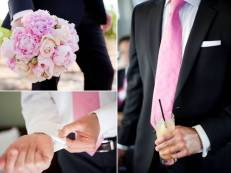 Groom in a black suit with a light pink tie