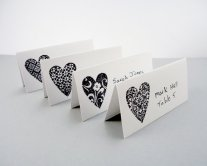 Heart placecards, by PiecesOfMePaperCraft on etsy.com